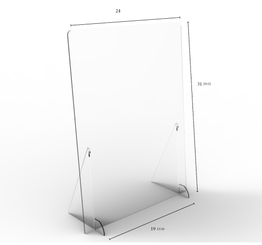 "Solid Angled Clear Protective Shields - 24"" W x 32"" H 