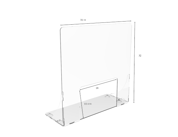 "Pass-Thru Upright Clear Protective Shield - 31-3/4""W x 32""H 