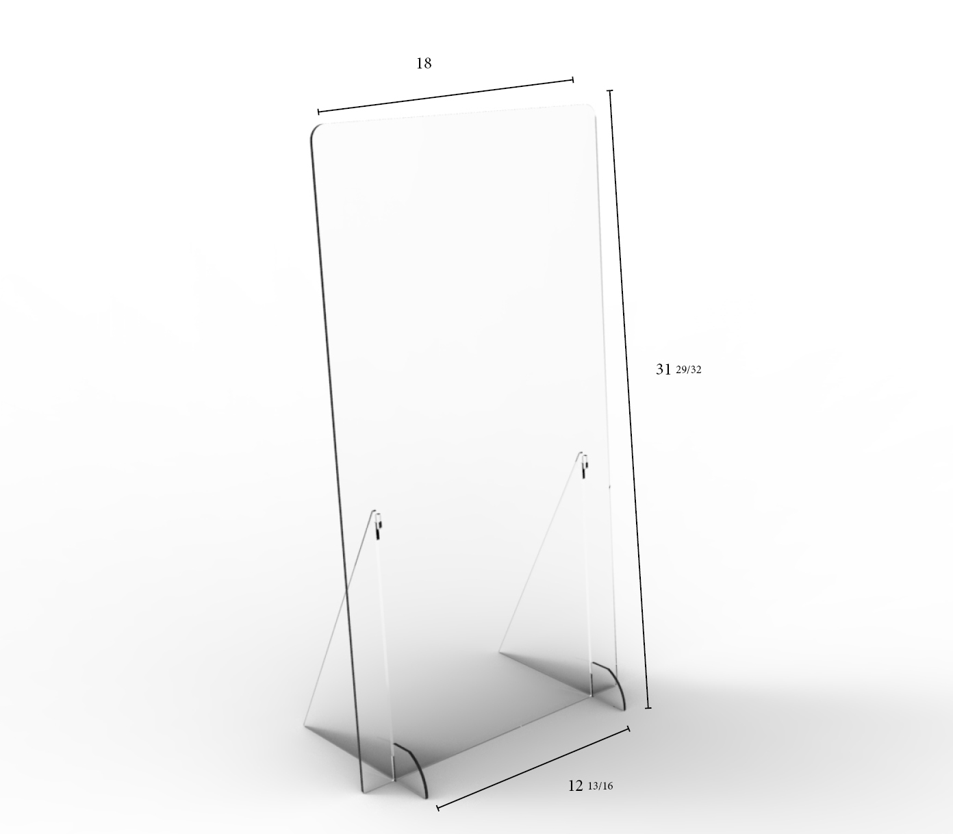 "Solid Angled Clear Protective Shield - 18"" W x 32"" H 