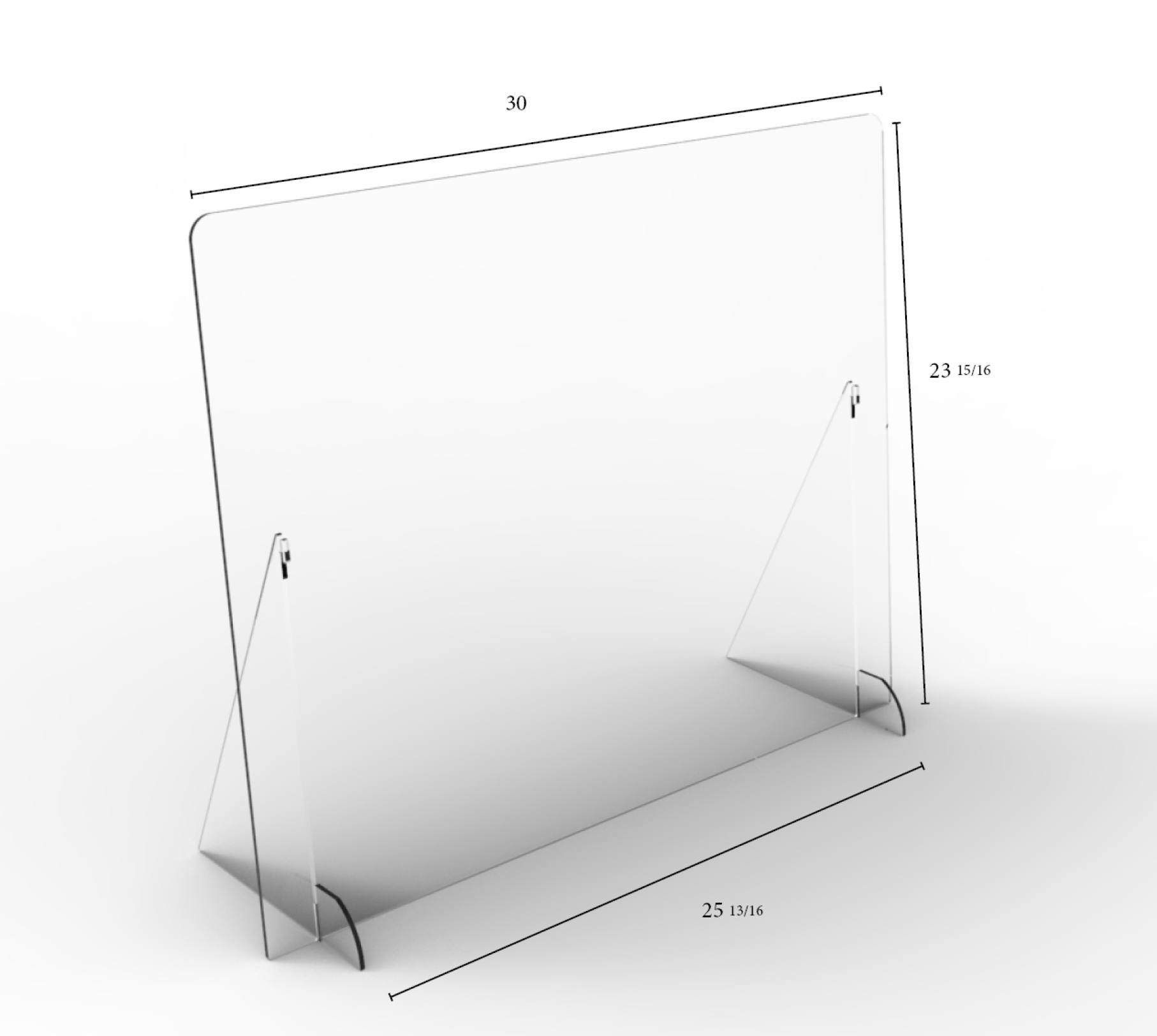 "Solid Angled Clear Protective Shield - 30"" W x 24"" H 