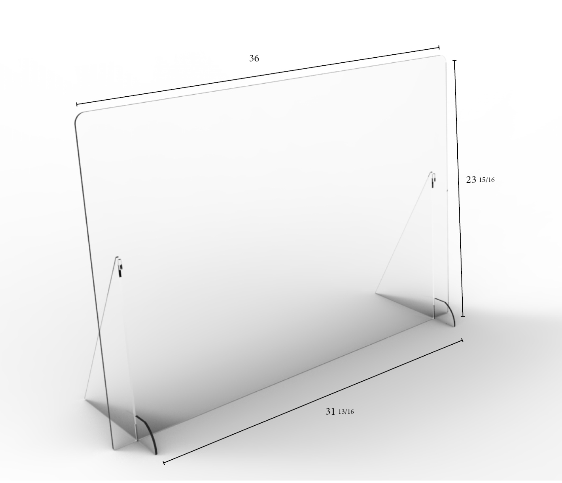 "Solid Angled Clear Protective Shield - 36"" W x 24"" H 