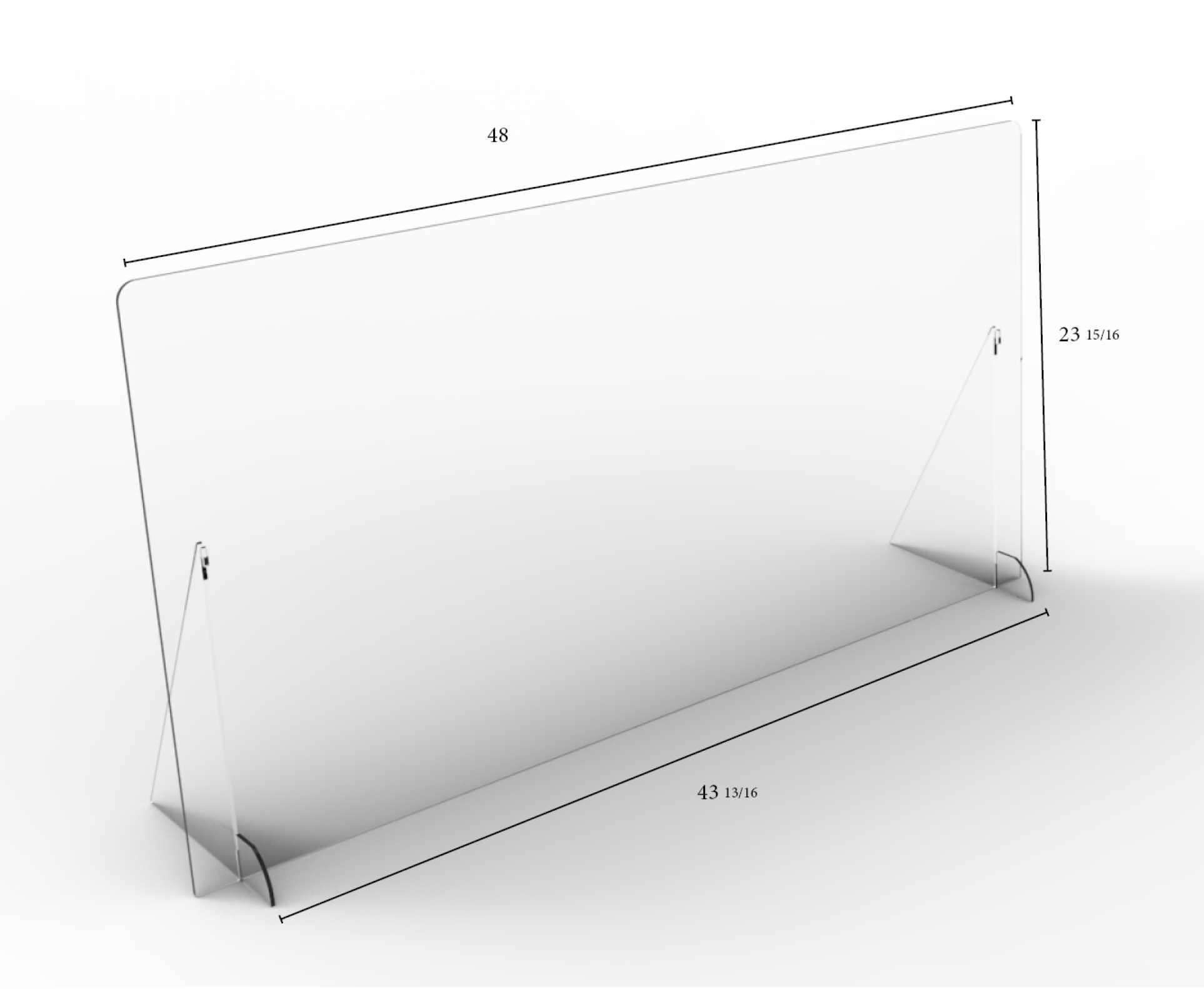 "Solid Angled Clear Protective Shield - 48"" W x 24"" H 