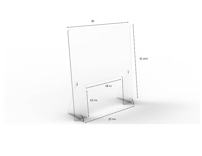 "Pass-Thru Angled Clear Protective Shield - 30"" W x 32"" H 
