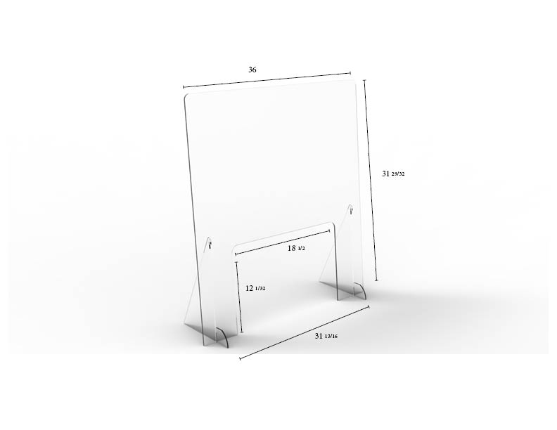 "Pass-Thru Angled Clear Protective Shield - 36"" W x 32"" H 