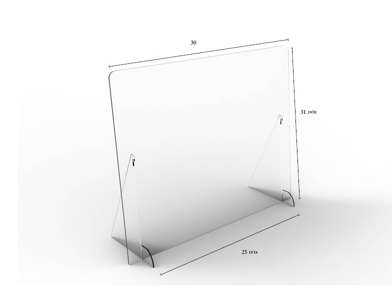 "Solid Angled Clear Protective Shield - 30"" W x 32"" H 