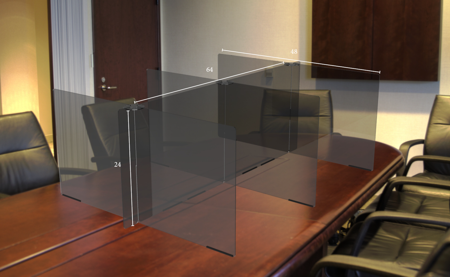 Smoked Conference Table Divider Protective Shield | Shop Rodgers Wade