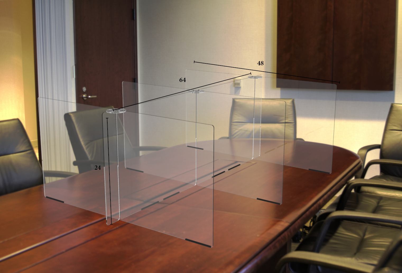 Clear Conference Table Divider Protective Shield | Shop Rodgers Wade