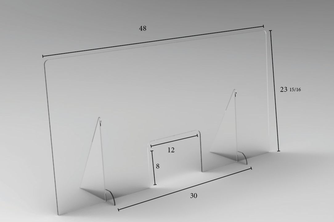 "Pass-Thru Angled Clear Protective Shield 30"" Legs - 48"" W x 24"" H 